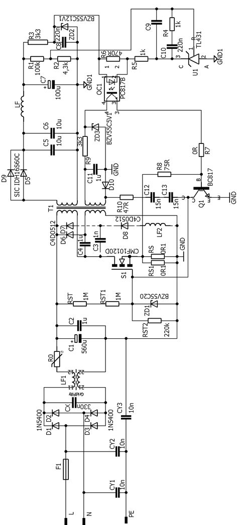 oscillating smps circuit flyback   khz electronics projects circuits