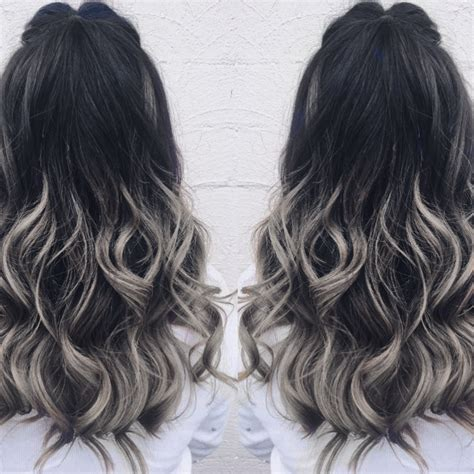 Grey And Black Balayage  Hair Color Ideas and Styles for 2018