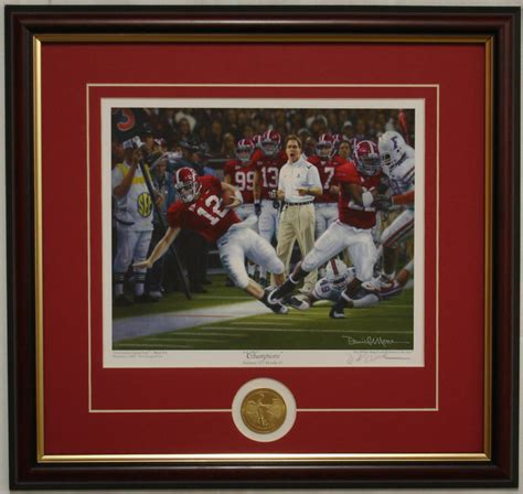 alabama football champions framed print  coin signed