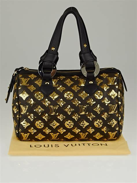 louis vuitton limited edition gold monogram eclipse speedy  bag yoogis closet