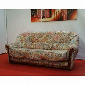 canape lit convertible tissu fleuri bois apparent couchage With canape lit couchage 140