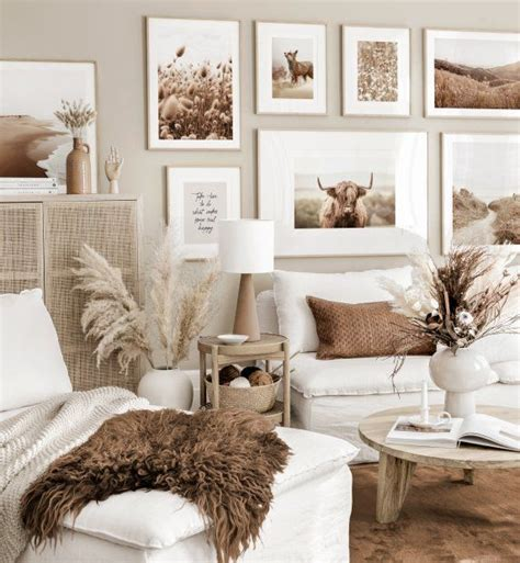 White living room furniture decorating ideas. Summery gallery wall art beige living room highland cow poster oak frames in 2020 | Beige living ...