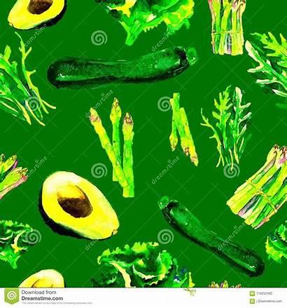 Watercolor Pattern Seamless Drawn Vegetarian Vegetables Healthy