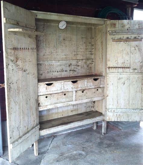 Primitive Cupboard by Large Vintage Antique Primitive Cupboard Cabinet Chippy