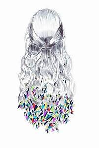 tumblr girl hair drawing blackandwhite colorful...