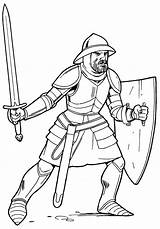 Knight Coloring Armor Knights Pages Soldiers sketch template