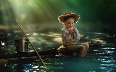 wallpaper child girl fishing river water bucket hd