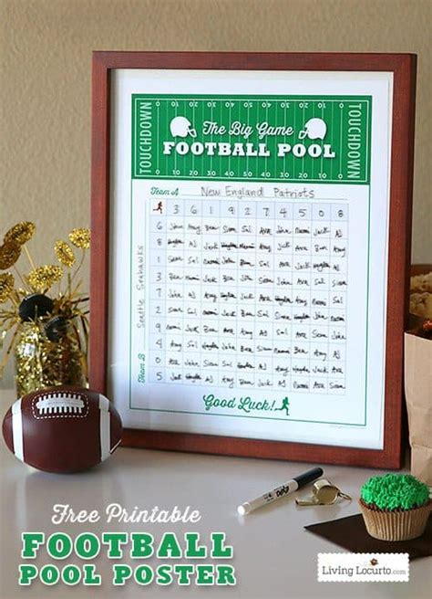 printable football squares pool poster