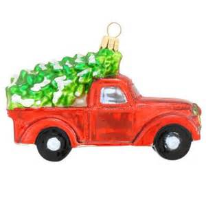 truck with tree glass ornament novelty nostalgia ornaments bronners