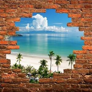 Image Trompe L Oeil : sticker mural trompe l 39 oeil plage art d co stickers ~ Melissatoandfro.com Idées de Décoration