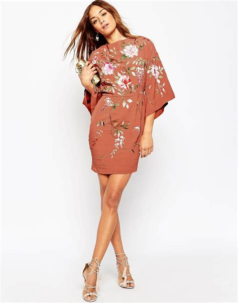 mini floral wrap dress floral l asos embroidered kimono sleeve mini dress in pink lyst