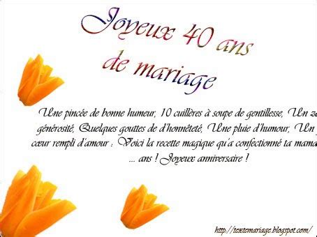 anniversaire de mariage 40 ans poeme 40 ans de mariage invitation mariage carte mariage