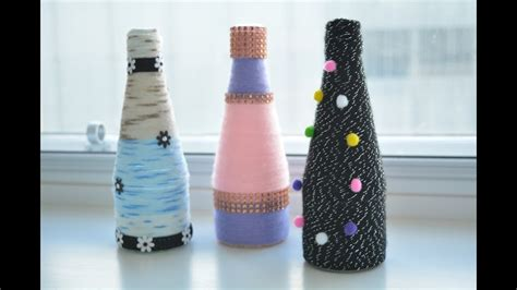 yarn wrapped bottle craft diy flower vase glass bottle