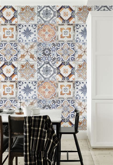 tile wallpaper for kitchen 15 awesome wallpapers for creating wow worthy accent walls 6193