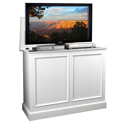 Carousel White Tv Lift Cabinet By Tvliftcabinetcom