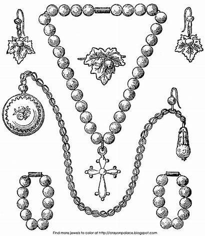 Coloring Jewelry Pages Necklace Bracelet Pearl Earrings