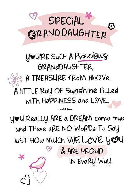 greeting card words of special granddaughter inspired words greeting card blank
