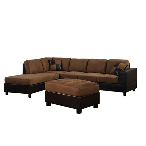 brown sectional with ottoman venetian worldwide dallin saddle brown microfiber