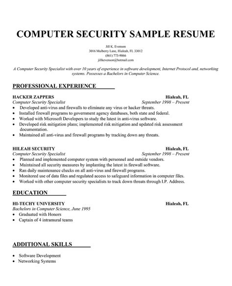 computer science resume objective resume format resume writing for security