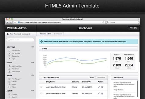 Admin Area Template by Free Html5 Admin Template Medialoot