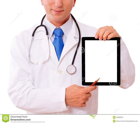 Doctor Tablett by Doctor Working With Tablet Royalty Free Stock Photo