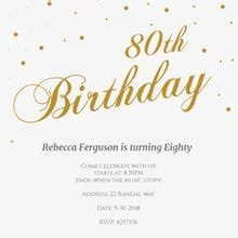 Image result for 80th birthday invitations templates free
