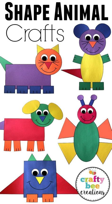 shape animal crafts bundle crafts  kids preschool
