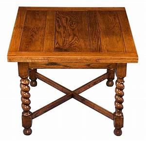 English Oak Antique Barley Twist Draw Leaf Pub Table