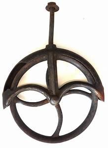 Antique vintage cast iron pulley wheel farm industrial