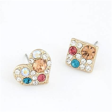 korean fashion colorful czech rhinestones heart  square