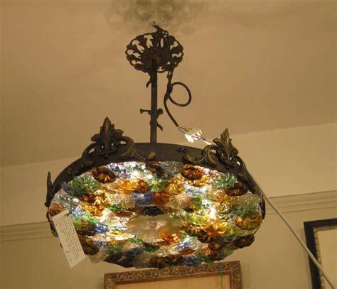an antique brass and glass flowered ceiling light 246769