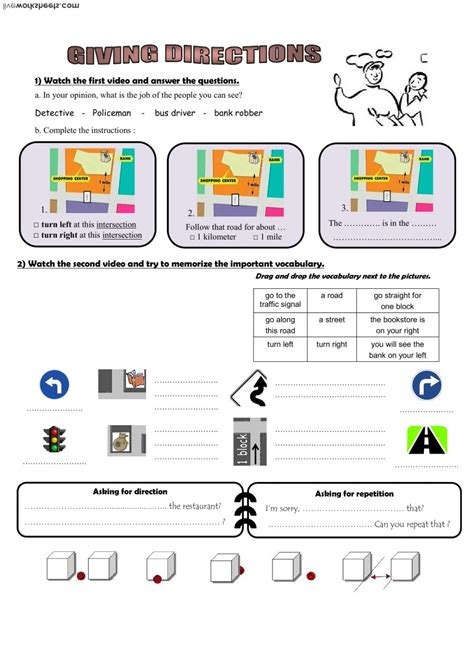give directions interactive worksheet