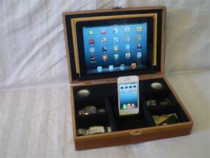 Iphone 4 Docking Station : iphone 4 iphone 5 ipad ipad mini wooden box docking station organizer valet with built in ~ Sanjose-hotels-ca.com Haus und Dekorationen