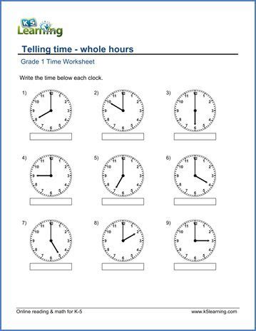 grade  telling time worksheet   hours time