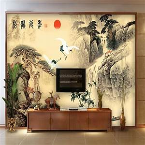 asian wall murals vintage