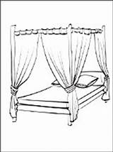 Coloring Bed Pages Canopy Furniture 1coloring sketch template