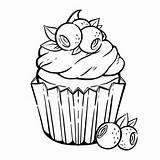Coloring Cupcake Muffin Kawaii Blueberry Colorear Kleurplaat Colorare Cupcakes Colorir Vector Schattige Premium Pagina Cream Coloriage Leaves Panna Bladeren Bessen sketch template