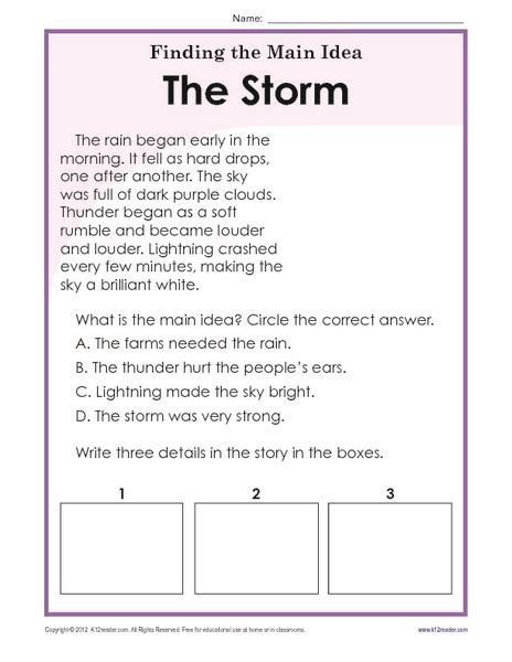 idea worksheets 2nd grade finding the idea worksheets finding the idea