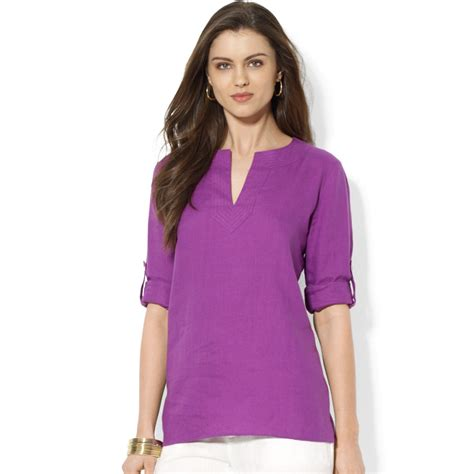 Tab Sleeved Linen Top lyst by ralph tabsleeve linen tunic