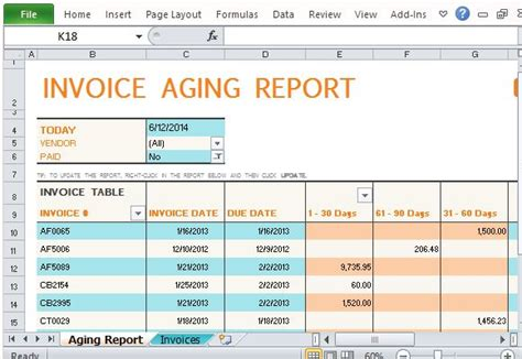 Accounts Receivable Turnover Business Forms Track Accounts Receivable With Invoice Aging Report