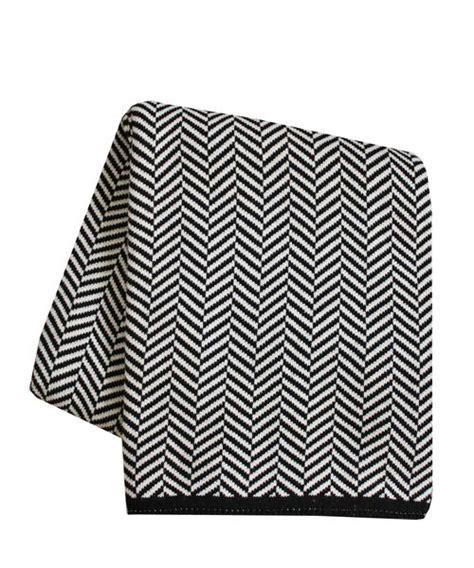 knit herringbone throw blanket black white high