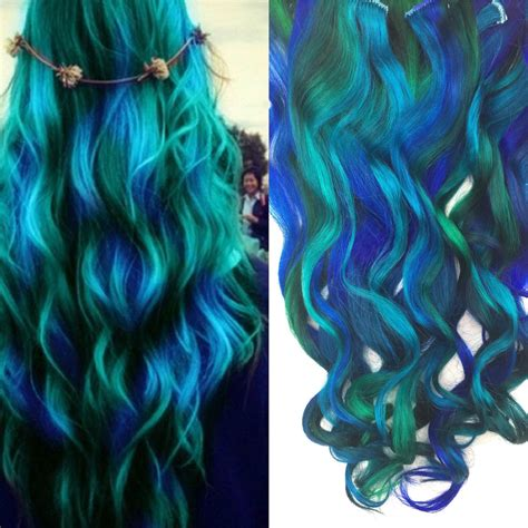 Half Set Green Hair Blue Green Ombre Clip In Hair Etsy