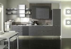 cuisine grise profitez espace moderne 23 idees sympas With idee deco cuisine avec cuisine moderne gris clair