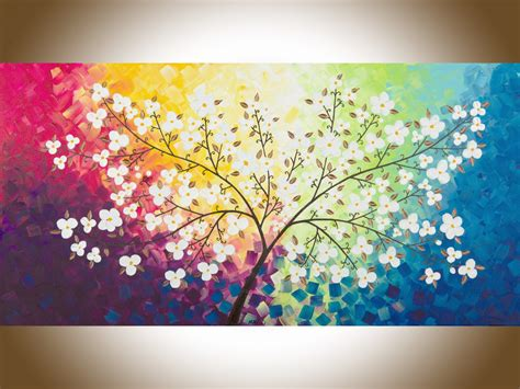 beautiful autumn by qiqigallery 48 quot x 24 quot original modern abstract landscape wall painting