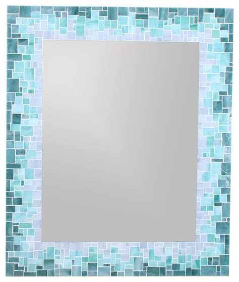 blue mosaic bathroom mirror sunburst mirror in glass mosaic tiles of blue green and