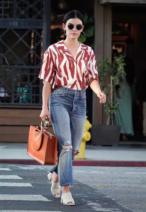 Lucy Hale in a Blue Ripped Jeans Was Seen Out in Los ...