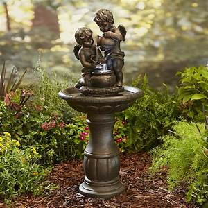 Garden oasis cherubs fountain limited availability for Outdoor patio fountains