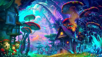 Mushroom Psychedelic Fantasy Colorful Drawing Nature Planet