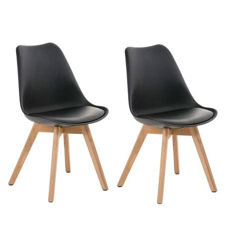 chaises simili cuir lot de 2 chaises de salle à manger scandinave simili cuir