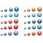 Social Icons Button Icon 3d Vector Buttons